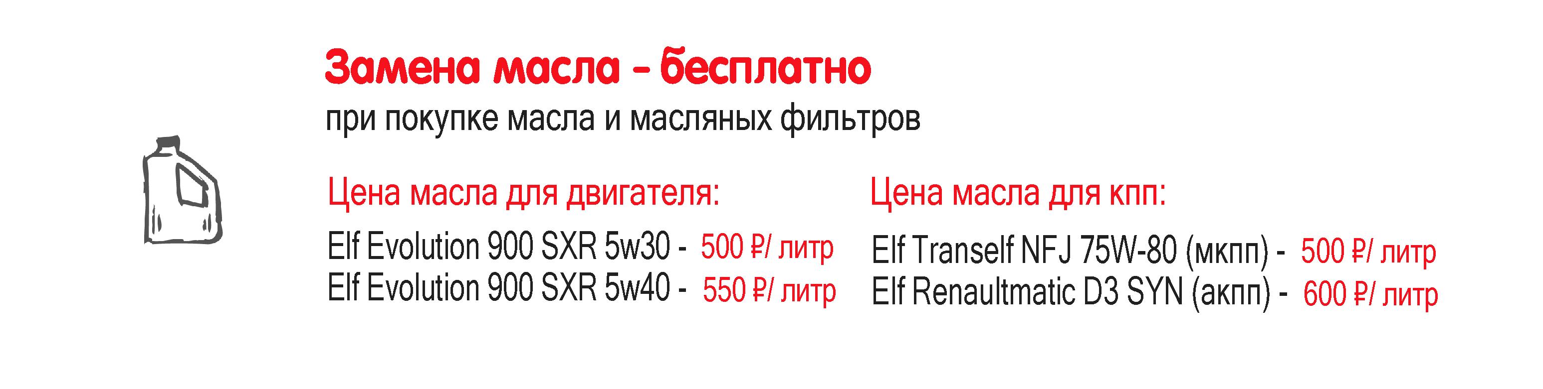 Акция на замену масла в двигателе и кпп Рено